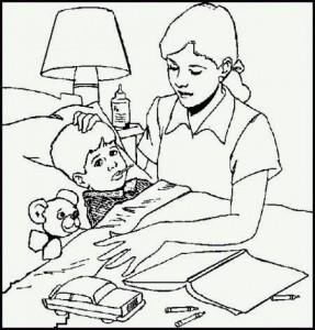 мама у кровати больного сына