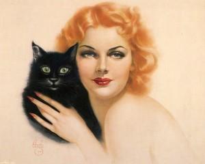 Рыжая девушка с черным котом