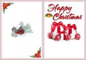 Три подарка с красными бантиками и ёлочными игрушками
