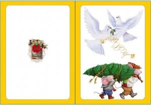 Дети, несущие ель и два голубя