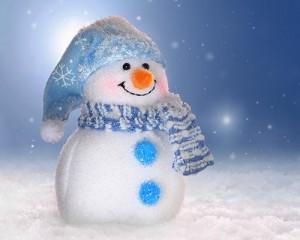 Снеговик. Поздравления с рождеством и новым годом на французском языке.