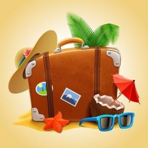 Чемодан, шляпа, солнцезащитные очки