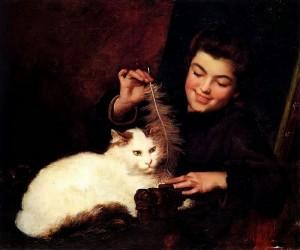 Антуан Жан Бейл - Молодая девушка с белым котом