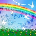 радуга, цветы, зеленая трава