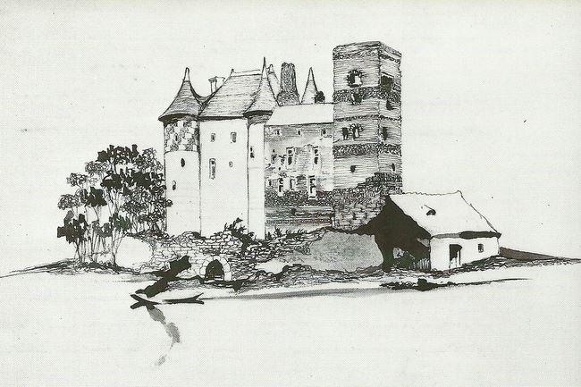 """Рисунок В.Гюго """"Souverir du chateau de Nemours"""""""
