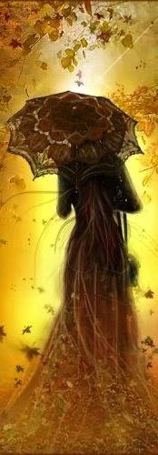 Женский силуэт на фоне осенних листьев
