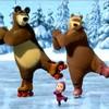 Медведь, медведица и Маша на катке