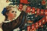 открытка 50-х годов прошлого века - девочка в школьной форме украшает ёлку