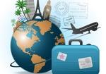 глобус, чемодан, самолет