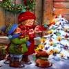 Дети рядом с рождественской елочкой