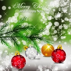 веточка ели и новогодние шары