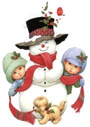 дети со снеговиком